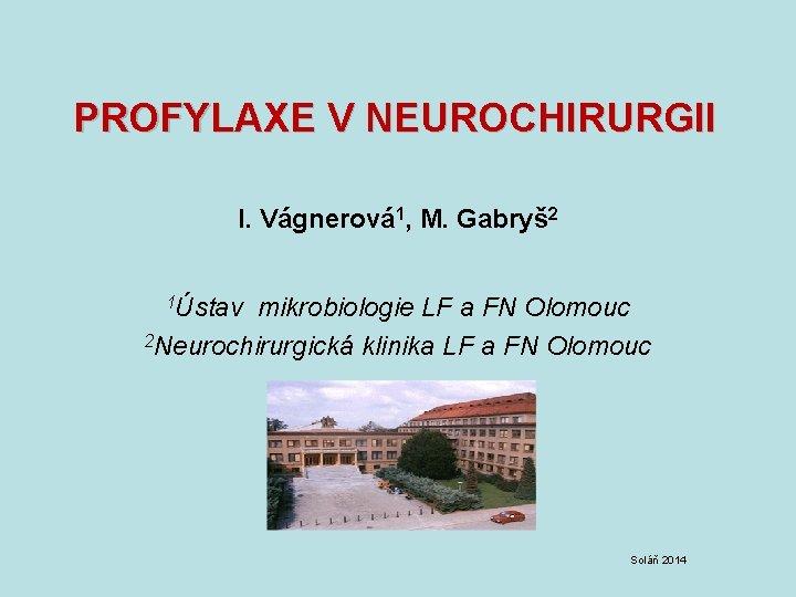 PROFYLAXE V NEUROCHIRURGII I Vgnerov 1 M Gabry
