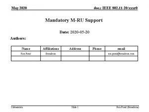 May 2020 doc IEEE 802 11 20xxxr 0