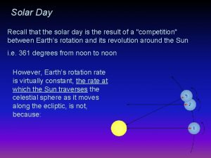 Solar Day Recall that the solar day is