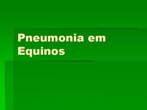 Pneumonia em Equinos O que A pneumonia uma