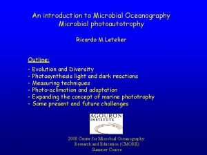 An introduction to Microbial Oceanography Microbial photoautotrophy Ricardo