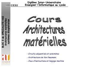 BLOC 3 de SPECIALITE NSI Architectures matrielles systmes