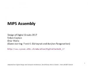 Carnegie Mellon MIPS Assembly Design of Digital Circuits