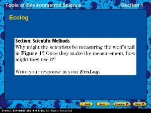 Tools of Environmental Science Ecolog Section 1 Tools