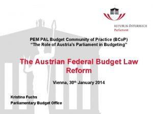 PEM PAL Budget Community of Practice BCo P