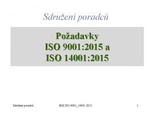 Sdruen poradc Poadavky ISO 9001 2015 a ISO