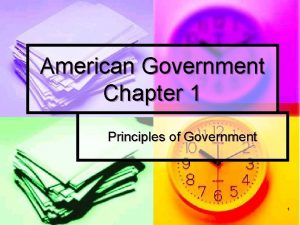 American Government Chapter 1 Principles of Government 1