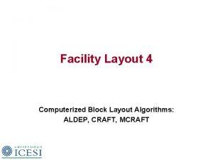 Facility Layout 4 Computerized Block Layout Algorithms ALDEP