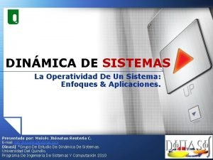 DINMICA DE SISTEMAS La Operatividad De Un Sistema