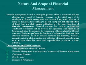 Nature And Scope of Financial Management Financial management