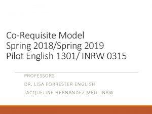 CoRequisite Model Spring 2018Spring 2019 Pilot English 1301