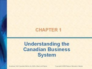CHAPTER 1 Understanding the Canadian Business System Business