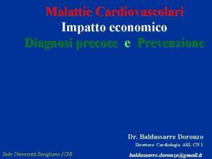 Malattie Cardiovascolari Impatto economico Diagnosi precoce e Prevenzione