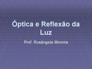 ptica e Reflexo da Luz Prof Rosngela Moreira