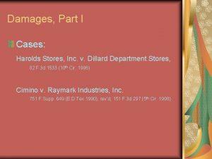 Damages Part I Cases Harolds Stores Inc v
