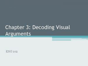 Chapter 3 Decoding Visual Arguments ENG 102 Visual