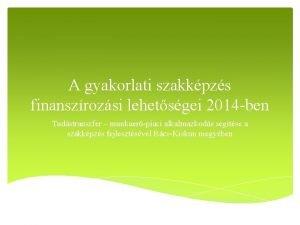 A gyakorlati szakkpzs finanszrozsi lehetsgei 2014 ben Tudstranszfer