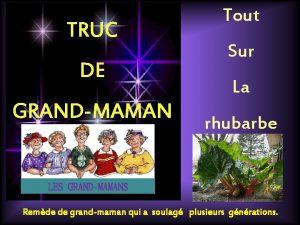 TRUC DE GRANDMAMAN Tout Sur La rhubarbe LES