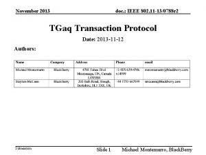 November 2013 doc IEEE 802 11 130788 r