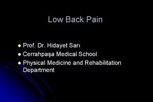 Low Back Pain Prof Dr Hidayet Sar l