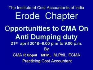 The Institute of Cost Accountants of India Erode