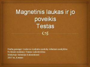 Magnetinis laukas ir jo poveikis Testas Darb pareng