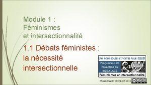 Module 1 Fminismes et intersectionnalit 1 1 Dbats
