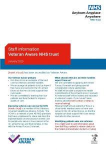 Staff information Veteran Aware NHS trust January 2020