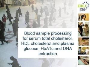 Blood sample processing for serum total cholesterol HDL