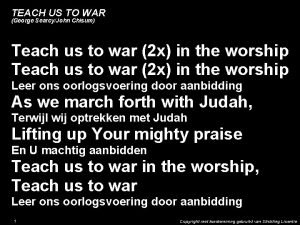 TEACH US TO WAR George SearcyJohn Chisum Teach
