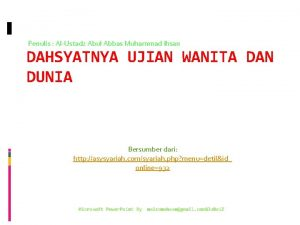 Penulis AlUstadz Abul Abbas Muhammad Ihsan DAHSYATNYA UJIAN