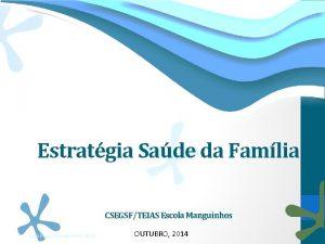 Estratgia Sade da Famlia CSEGSFTEIAS Escola Manguinhos Teias