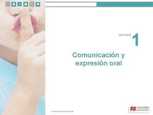unidad 1 unidad Comunicacin y expresin oral MACMILLAN