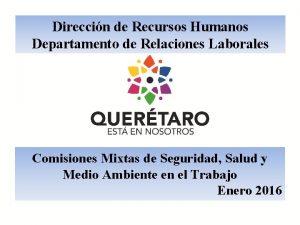 Direccin de Recursos Humanos Departamento de Relaciones Laborales