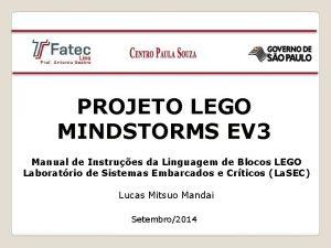 PROJETO LEGO MINDSTORMS EV 3 Manual de Instrues