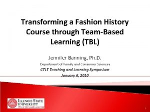 Transforming a Fashion History Course through TeamBased Learning