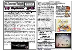 Gemeente Algemeen Gebedsbulletin No 37 van 2018 Dank
