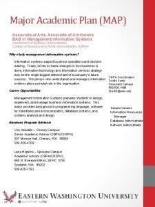 Major Academic Plan MAP Associate of Arts Associate