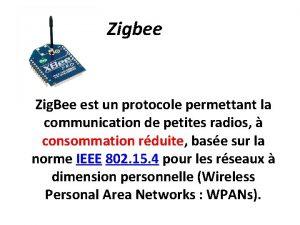 Zigbee Zig Bee est un protocole permettant la