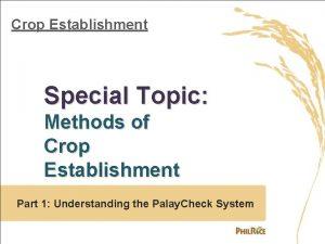 Crop Establishment Special Topic Methods of Crop Establishment