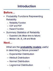Introduction Before Probability Functions Representing Reliability Reliability Function