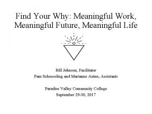 Find Your Why Meaningful Work Meaningful Future Meaningful