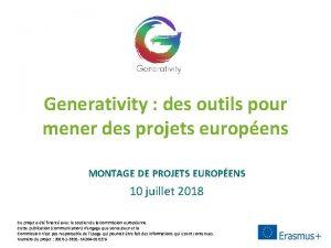 Generativity des outils pour mener des projets europens