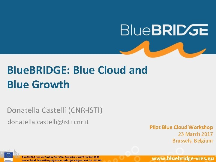 Blue BRIDGE Blue Cloud and Blue Growth Donatella