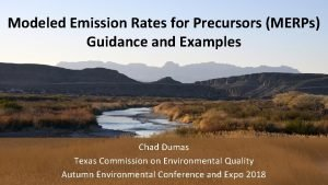 Modeled Emission Rates for Precursors MERPs Guidance and