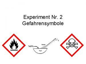 Experiment Nr 2 Gefahrensymbole Allgemein Allgemein Allgemein Allgemein