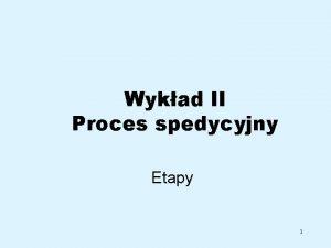 Wykad II Proces spedycyjny Etapy 1 Spedycja informacje