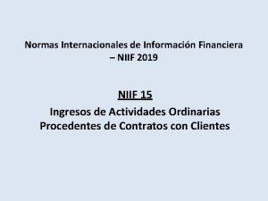 Normas Internacionales de Informacin Financiera NIIF 2019 NIIF