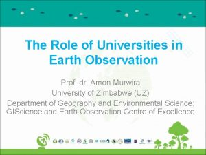 The Role of Universities in Earth Observation Prof
