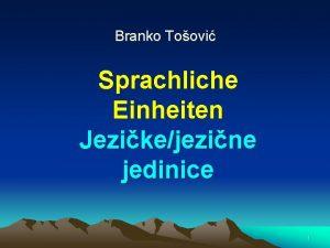 Branko Toovi Sprachliche Einheiten Jezikejezine jedinice 1 2